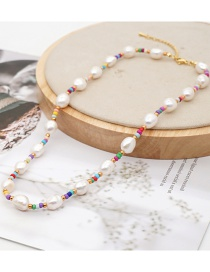 Fashion Color Mixing Natural Pearl Handmade Rice Bead Woven Geometric Necklace