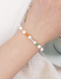 Fashion White Natural Freshwater Pearl Handmade Rice Bead Braided Bracelet