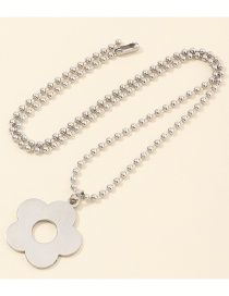 Fashion Platinum Small Flower Round Bead Alloy Hollow Necklace