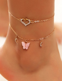 Fashion Pink Diamond-shaped Love Cardiogram Acrylic Butterfly Multi-layer Anklet