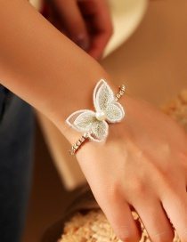 Fashion White Embroidered Butterfly And Diamond Bracelet