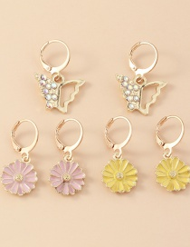 Fashion Color Mixing Flower Daisy Inlay Zircon Butterfly Earring Set