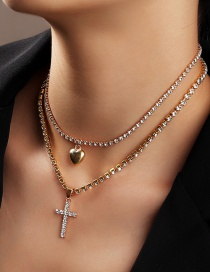 Fashion Golden Multi-layer Necklace With Love Cross And Diamonds