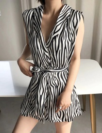 Fashion Black Sleeveless Jumpsuit With Zebra Belt