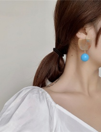 Fashion Blue Acrylic Marble Embossed Earrings