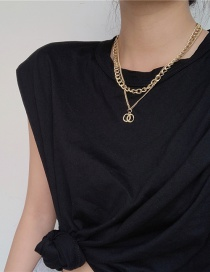 Fashion Golden Two-piece Set Stacked Chain Hollow Alloy Double Necklace