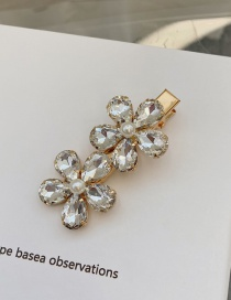 Fashion White Crystal Pearl Flower Alloy Hair Clip