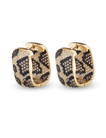 Fashion Python Pattern Nine Rows Of Zircon Square Python Earrings