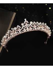 Fashion White Copper Inlaid Zircon Hand-beaded Pearl Hollow Crown