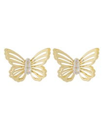 Fashion Golden Hollow Double Alloy Butterfly Inlaid Crystal Earrings