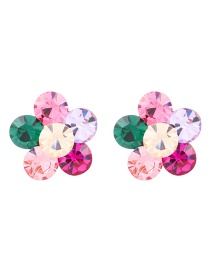 Fashion Color Alloy Earrings With Flowers