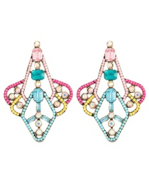 Fashion Color Color Diamond Kite Shaped Alloy Spray Painted Diamond Earrings
