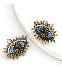 Fashion Blue And White Alloy Spray Painted Diamond Earrings