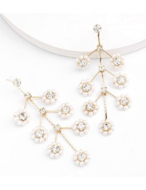 Fashion Golden Alloy Diamond Earrings With Pearl Flowers