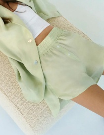 Fashion Green Elastic Waist Solid Color Split Shorts