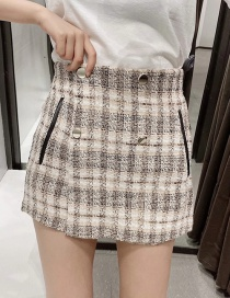 Fashion Khaki Tweed Buckle Shorts