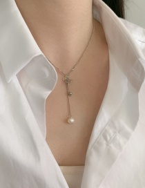 Fashion Silver Chain Butterfly Pearl Tassel Necklace