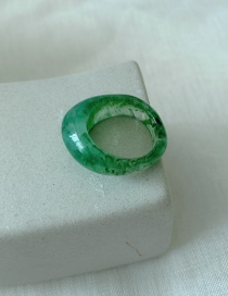 Fashion Jade Green Stacked Resin Wide-breasted Geometric Ring