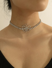 Fashion White K Hollow Alloy Butterfly Necklace With Diamonds