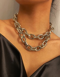 Fashion White K Acrylic Thick Chain Alloy Multi-layer Necklace