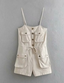 Fashion Khaki Three-dimensional Pocket Sling Shorts With Belt