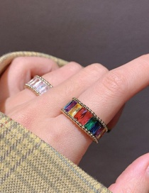Fashion Colored Zircon Zircon Contrasting Alloy Round Open Ring