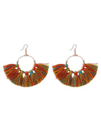 Fashion Mixed Color Tassel Contrast Alloy Fan Earrings