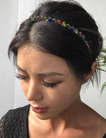 Fashion Color Alloy Inlaid Glass Diamond Hair Band