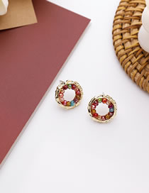 Fashion Ring Type Hollow Crystal Alloy Geometric Earrings