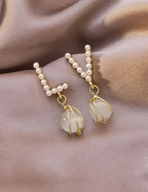 Fashion White Asymmetrical Pearl Opal Letter Alloy Earrings