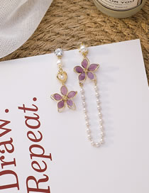 Fashion Purple Asymmetric Pearl Flower Tassel Earrings
