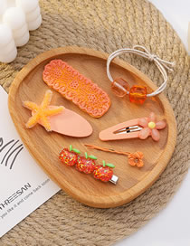 Fashion Orange Resin Flower Butterfly Pearl Alloy Hairpin Hair Rope Set
