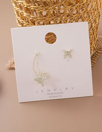 Fashion Golden Micro-set Zircon Butterfly Asymmetric Earrings