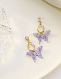 Fashion Purple Gradient Butterfly Resin Diamond Pearl Alloy Earrings