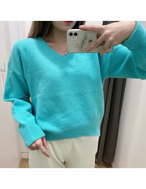 Fashion Lake Green V-neck Knitted Pullover Sweater