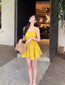 Fashion Yellow Solid Color Stitching Strap Dress