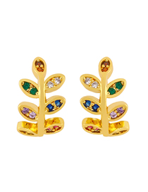 Fashion Leaves Butterfly Leaf Inlaid Zircon Hit Color Without Pierced Ear Bone Clip