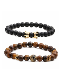 Fashion Gold Color Frosted Stone Tiger Eye Stone Crown Diamond Ball Beaded Bracelet Set