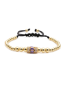 Fashion Gold Color Micro-inlaid Zircon Adjustable Small Waist Copper Bead Braided Bracelet