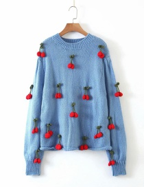 Fashion Blue Hand-crocheted Cherry Sweater Sweater