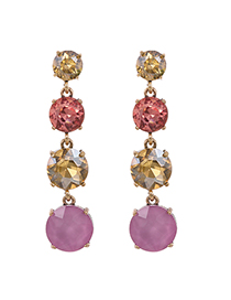 Fashion Pink Multiple Round Ear Studs With Alloy Diamonds