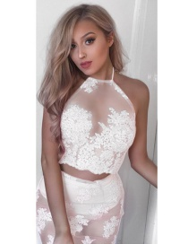 Fashion White Halter Sleeveless Lace Flower Vest And Hip Skirt Suit