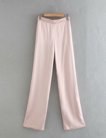Fashion Pink Solid Color Loose Wide-leg Pants
