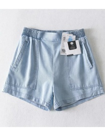 Fashion Light Blue Pure Color Real Silk Pit Strip Washed Denim Shorts
