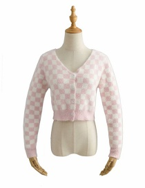 Fashion Pink Checkered Mohair Knitted V-neck Single-breasted Sweater Cardigan