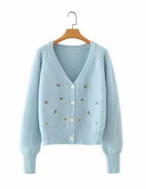 Fashion Blue Flower Embroidery V-neck Single-breasted Sweater Cardigan