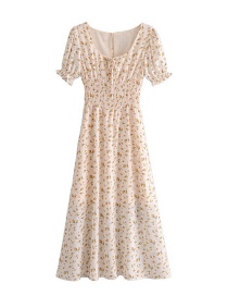 Fashion Beige Printed Square Neck Lace Elastic Waist Puff Sleeve Dress