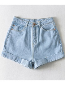 Fashion Light Blue Slim-fit Denim Shorts With Washed Curled Edges