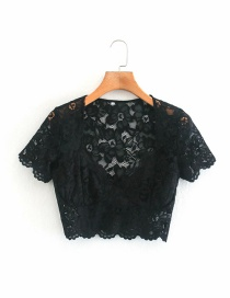 Fashion Black Lace Stitching Short-sleeved Pullover T-shirt Top