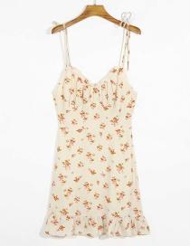 Fashion Beige Flower Print Suspender V-neck Open Back Dress
